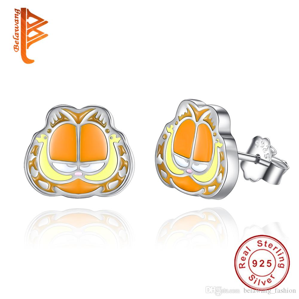 BELAWANG 2017 New Design 925 Sterling Silver Cartoon Garfield Cat Stud Earring Fashion Cute Animal Earrings For Women Girls Christmas Gift