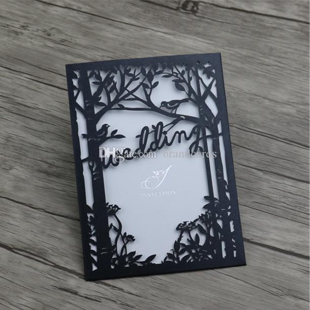 Laser Cutting Wedding Invitations Cards Blackwhite Paper Wedding