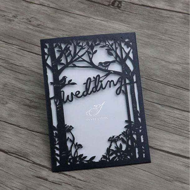 Grosshandel Laser Schneiden Hochzeitseinladungen Karten Schwarz