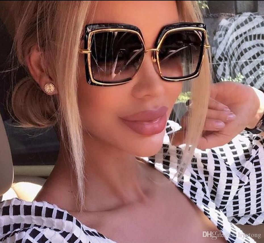 Large Semi Square Square Sunglasses 2018 Women Flat Top Metal Frame Mirror  Ladies Sunglasses Okuros Fashion High Quality Sunglasses UV400 Super  Sunglasses ... f49fbb56e1