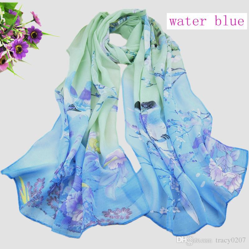 Damenmode Schals chinesischen Stil Satin Blume Ölgemälde lange Wrap Schal Strand Seidenschal 160x50cm