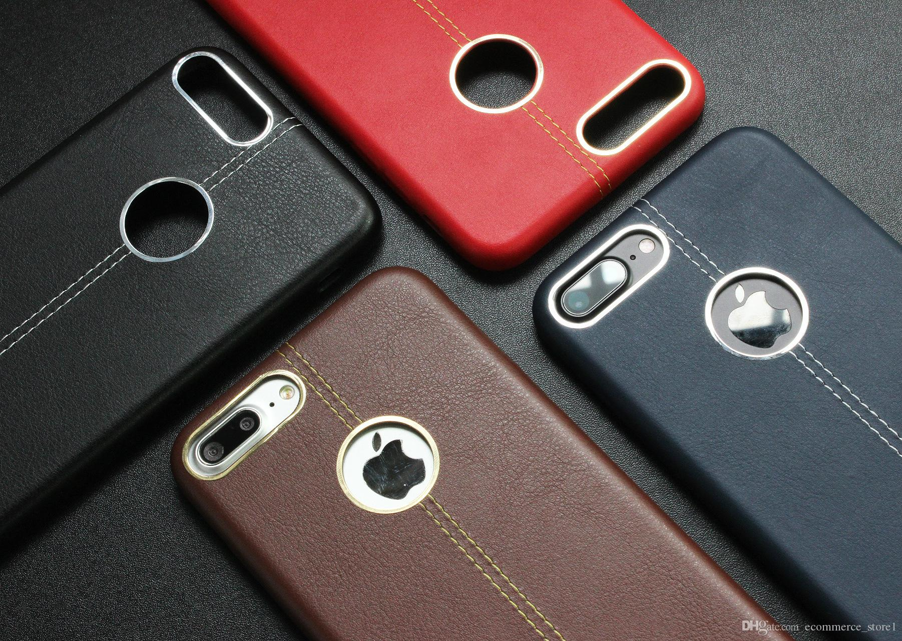For Red iphone 7 7plus Leather soft case leather stitching with metal ring case TPU Cell phone Cases for Iphone 6 6s Plus