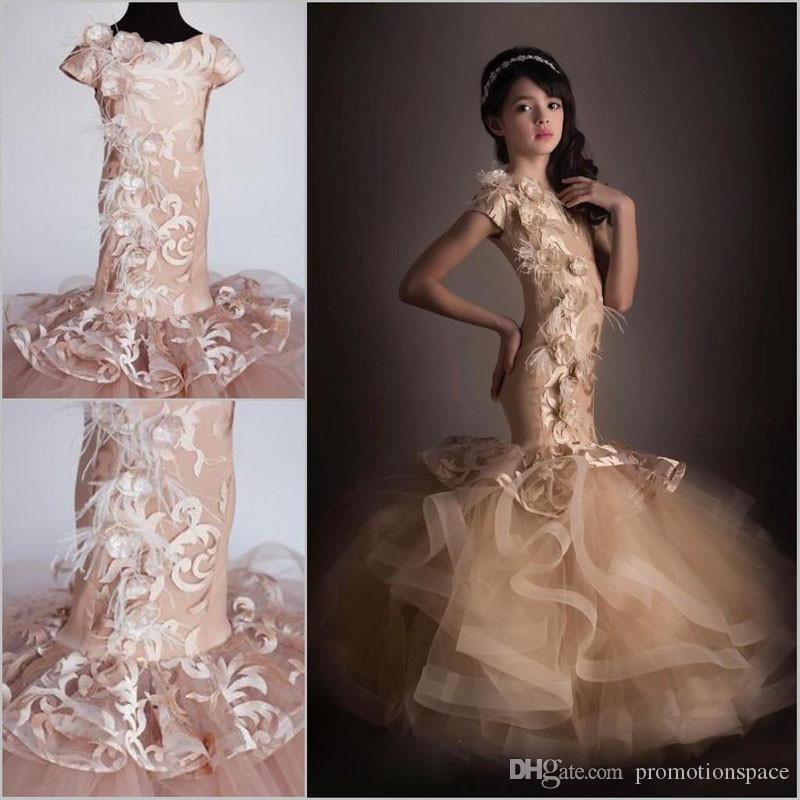 Vestidos de la muchacha de la flor de la sirena de Champagne Applique floral 3D Vestido encantador del desfile de las muchachas Fiesta de cumpleaños de los niños Vestidos de baile de fin de curso
