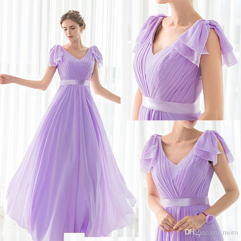 59491c68f99 Vintage Chiffon Lavender Evening Dresses Cap Sleeves A-line V-neck Princess  Sash Holiday Boho Formal Long Prom Wear Party Gowns Cheap 12510