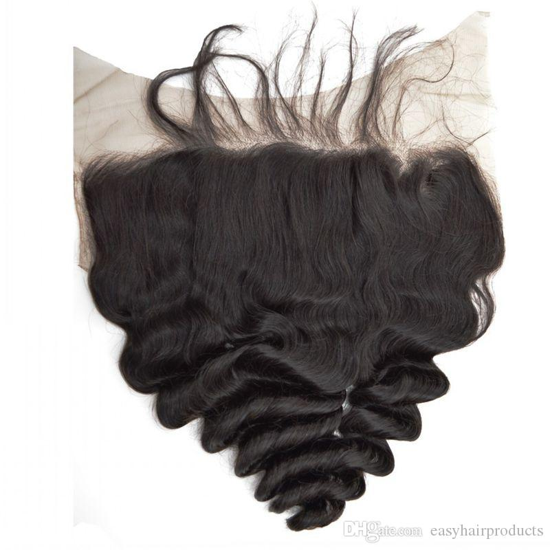Indian Human Hair Bundles With Full Lace Frontal Closure 13x6 100% Human Hair Virgin Indian Loose Wave Lace Frontals