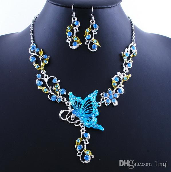 New Fashion Bridal Necklace Set Vintage Butterfly Necklace Ethnic Butterfly Pendant Free Ship NAE04