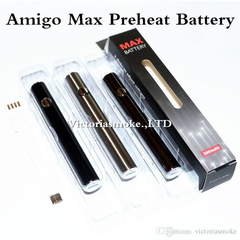 Autêntico Amigo Max Preaquecimento Da Bateria 380 mAh Tensão de Carga Variável de Fundo 510 Bateria Para Cartuchos de Caneta de Vaporizador de Óleo Grosso