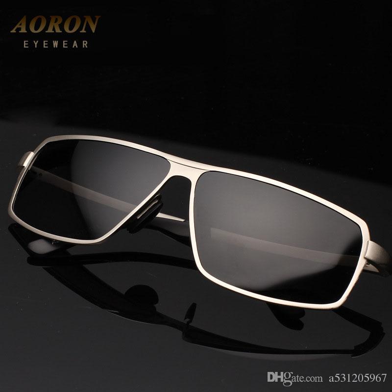 34cef27baf68c Compre AORON Grau Dos Homens Lente Polarizada Condução Óculos De Sol Para  Masculino Marca Designer Óculos De Sol Eyewear Oculos De Sol De A531205967,  ...