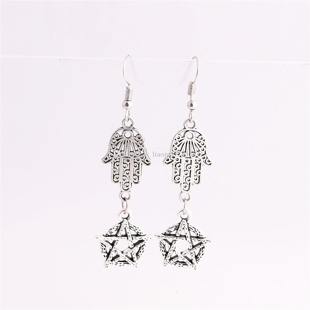 Metal Alloy Zinc Hamsa Hand Connector Star Pendant Charm Drop Earing Diy Jewelry Making C0751