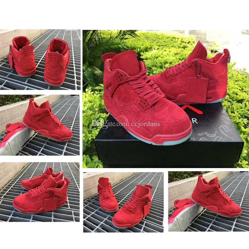 cdc4908e860782 KAWS X Retro 4 Red Basketball Shoes Men Best Quality Suede 4S IV Sports  Shoes Sneakers Sports Sneakers With Shoes Box Size41 47 Low Top Basketball  Shoes ...