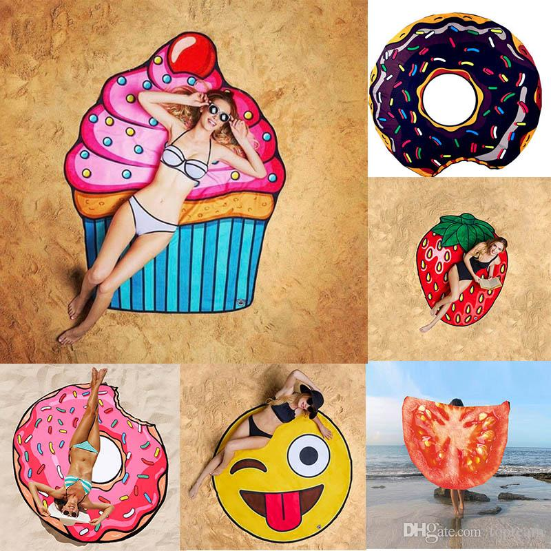 18 Designs Round Beach Towel Pizza Hamburger Skull Ice Cream Strawberry  Smiley Emoji Pineapple Watermelon Shower Towel Blanket Shawl Beach Towels  Beach ... b6278d5e52