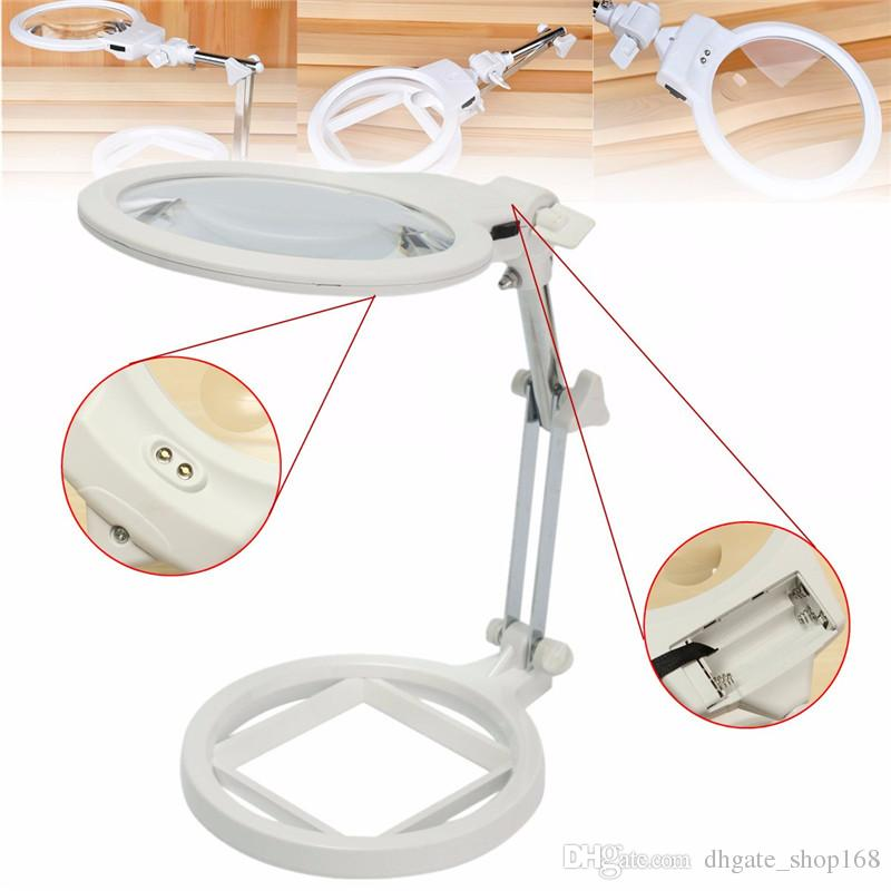 Einstellbare Desktop Lupe Lupe 2-6X Vergrößerung Mit LED-Licht Schmuck Lupe Uhr Repair Tool
