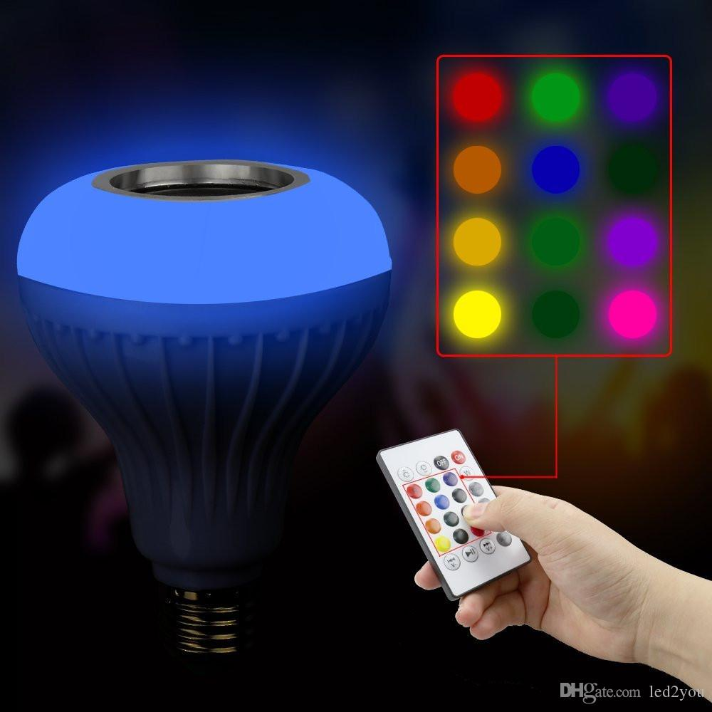 E27 Smart RGB Wireless Bluetooth Speaker Bulb Music Playing Dimmable 12W LED Bulb Light Lamp with Remote Control + In Stock