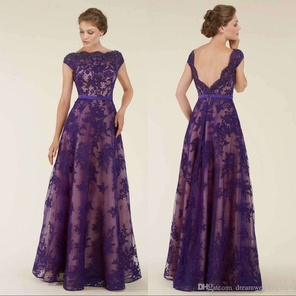 Plus Size Purple Lace Mother Of The Bride Dresses 2017 Boat Neck