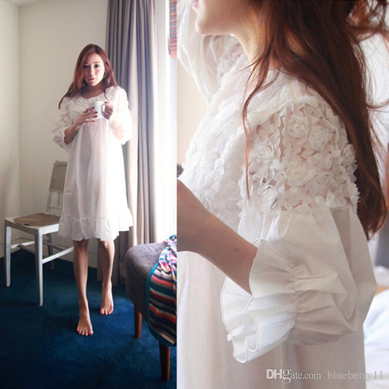 Wholesale Long White Cotton Nightgown Sleep Women Sleepwear Cotton ...