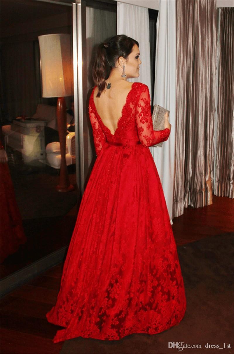Robe de soirée élégante en dentelle rouge à manches longues