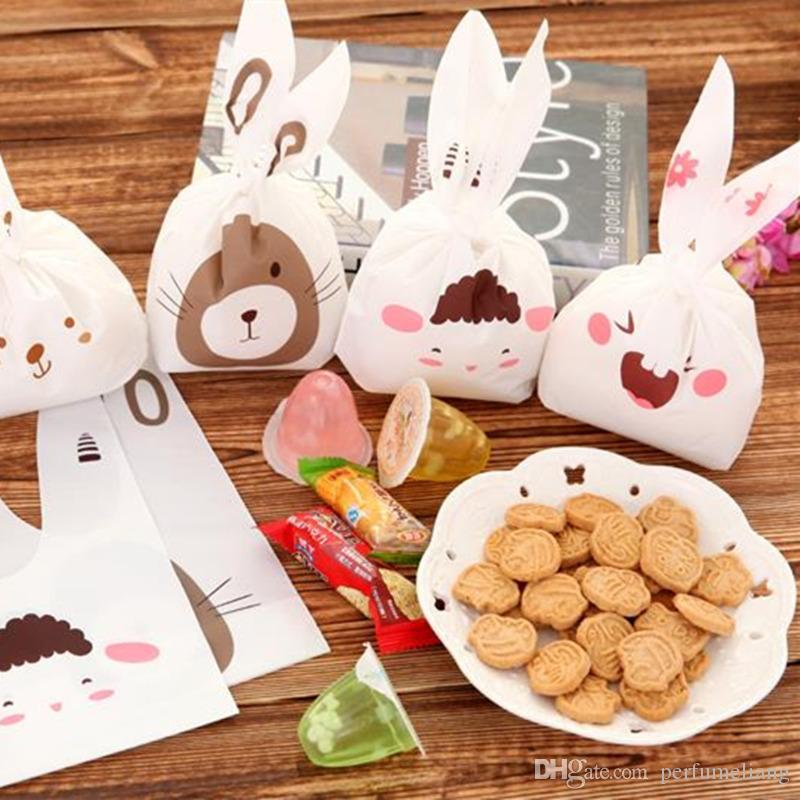 Heißer Verkauf 20 teile / satz kaninchen ohr cookie taschen kunststoff süßigkeiten Keks Verpackung Tasche Hochzeit Süßigkeiten Geschenk Taschen party Supplies F2017210