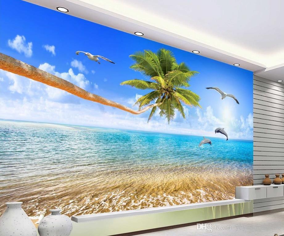 Custom papel de parede 3d Natural Mural Sea Coconut Tree Love Dolphin Pastoral Style 3D Non-woven Living Room Sofa Backdrop