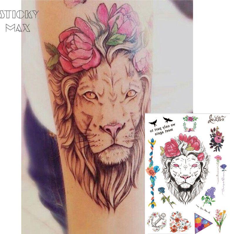 192fa1bdd W03 Flower Crown Lion On Arm Temporary Tattoo With Lavender,Balloon  Triangle,Daisy Wreath Pattern Body Art Temporary Gold Tattoos Temporary  Metallic Tattoos ...