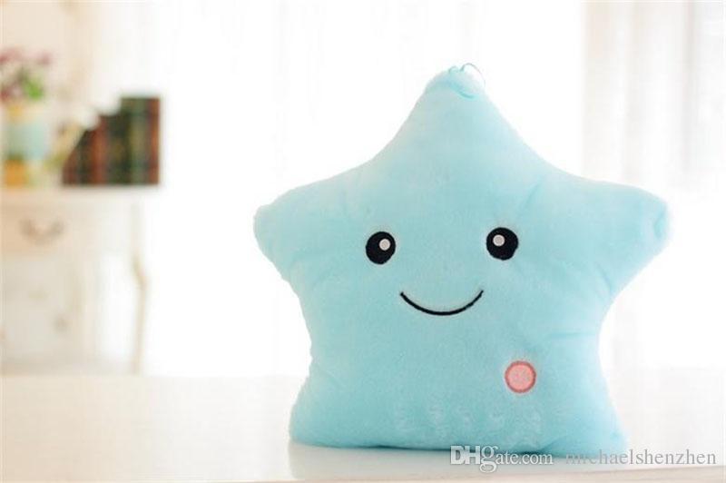 Emoji Luminous pillow Christmas Toys Led Light Pillow plush Pillow Hot Colorful Stars kids Toys Birthday Gift 40x35cm B001