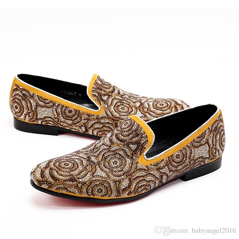Mode Männer Schuhe Wildleder Strass Blumen Männer Müßiggänger Britischen Stil Hochzeit Formales Kleid Schuhe Männer Wohnungen Slip On