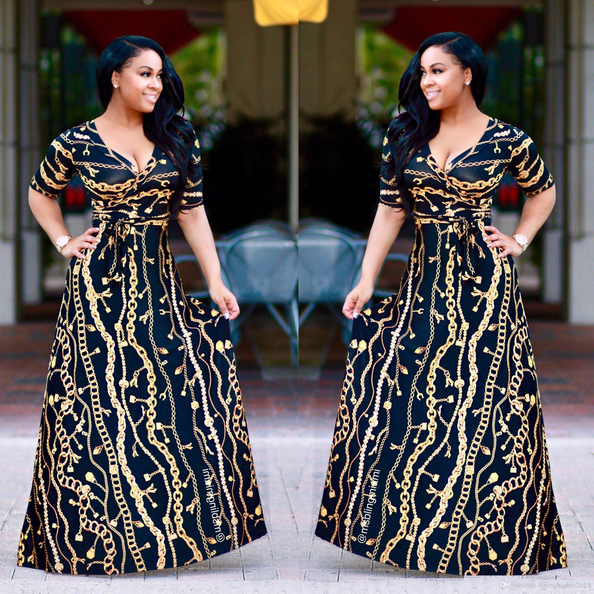 Plus Size African Art und Weise entwarf Traditionelles Maxikleid Herbst-Frauen-Weinlese-Ketten-Druck-langen Kleid reizvolle elegante Partei-Kleider