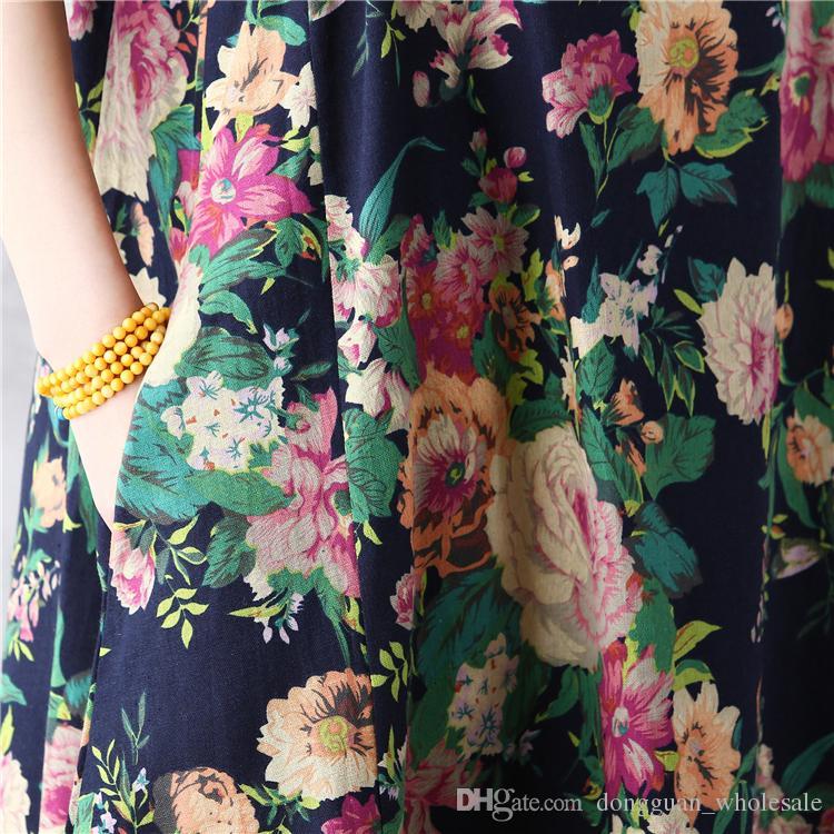 Abito estivo Donna Abito in lino di cotone blu rosso Vestidos Verano Flower Print Short Sleeve Causale 2017 Summer Beach Dress
