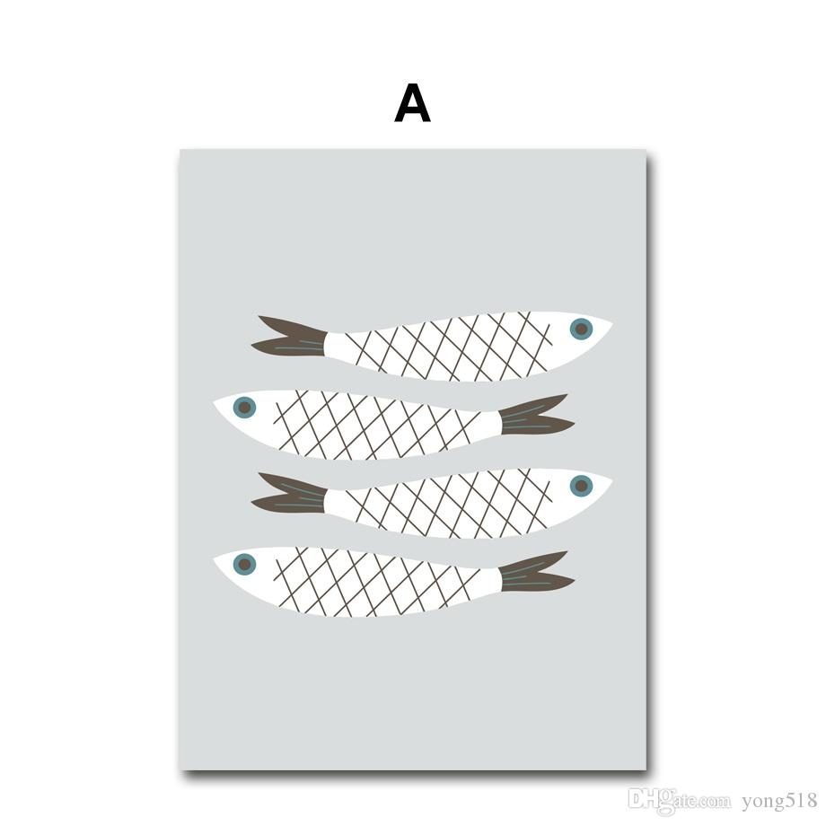 Nordic Minimalism Cartoon Figure Fish Canvas Painting Wall Art Canvas Prints Wall Pictures For Kids Room Home Decor