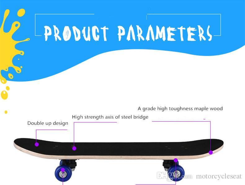 A Grade Maple Wood Kid Kick Scooter Skateboard ABS Double Rocker 60*15*10.5cm