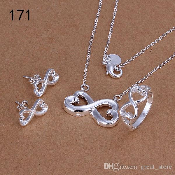 Kaliteli kadın 925 gümüş takı aynı fiyat mix tarzı gümüş Gerdanlık Bilezik Küpe Yüzük takı seti GTSleri