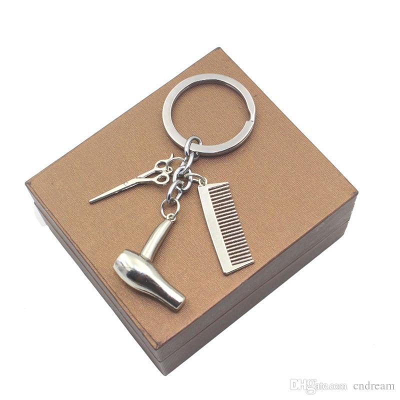 Fashion Haircut Scissor Comb Hair Dryer Keychain Key Ring Charm silver Gold Plated Key Chain bag hangs Fashion Jewelry Drop Shipping