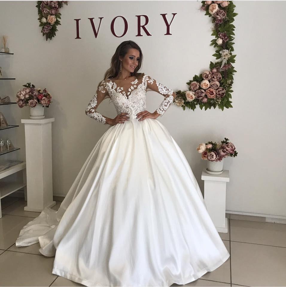 Discount Romantic White Satin Wedding Dresses Sheer V Neck Lace