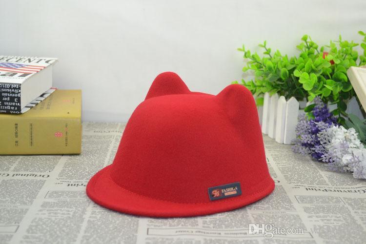 Nueva moda de invierno hip-hop Niños, niñas, niños, tacaños y sombreros Sombrero del diablo caliente Lindo Oreja de gato Multicolores Orejas Lana Derby Bowler Cap