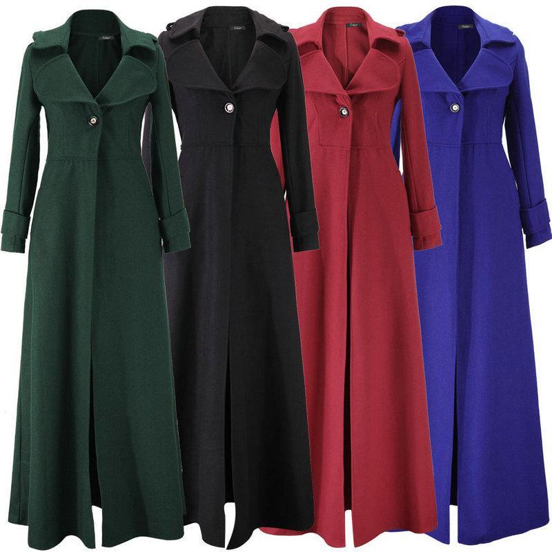 1468d735ec2c9 Wool Long Overcoat Lapel Neck Single Button Women s Outerwear ...