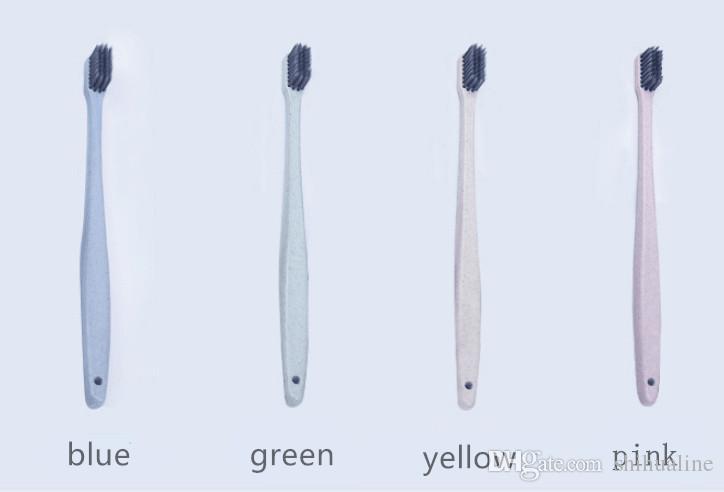 Nouvelle paille de blé japonais petite tête brosse à dents environnementale bambou charbon de bois nettoyage en profondeur couple brosse à dents brosse à dents portable