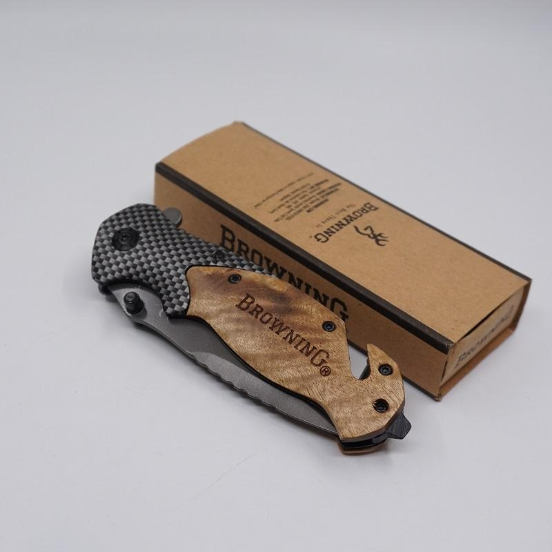 Browning X50 Knife Tactical Folding Pocket Knife Outdoor 440C Steel Blade Wood Handle Survival Knives Hunting Knife Camping Fishing EDC Tool