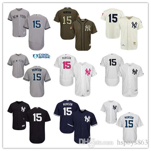 100% authentic 9fdf2 47a11 new york yankees 15 munson white throwback jersey