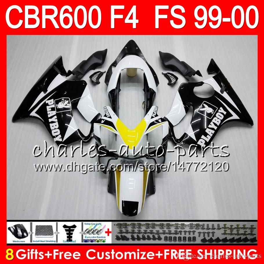 8 선물 23 혼다 차체 용 혼다 CBR 600 F4 99-00 CBR600FS FS 화이트 블랙 30HM19 CBR600 F4 1999 2000 CBR 600F4 CBR600F4 99 00 페어링 키트