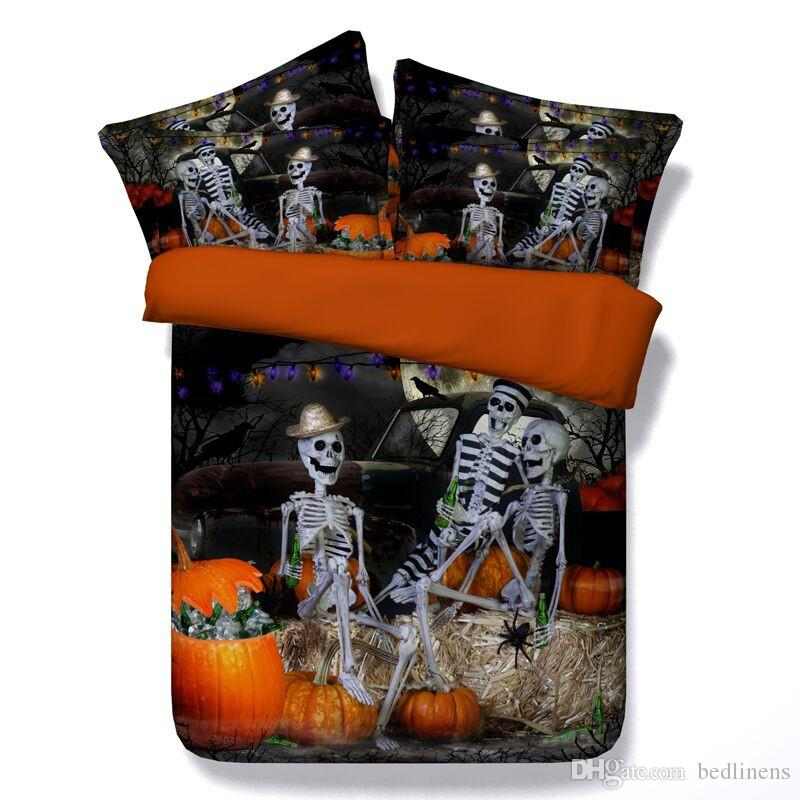 6 Styles Halloween Skull Man Pumpkin 3D Skull Printed Bedding Sets Twin Full Queen King Size Bedspreads Duvet Cover 3/Fashion Design