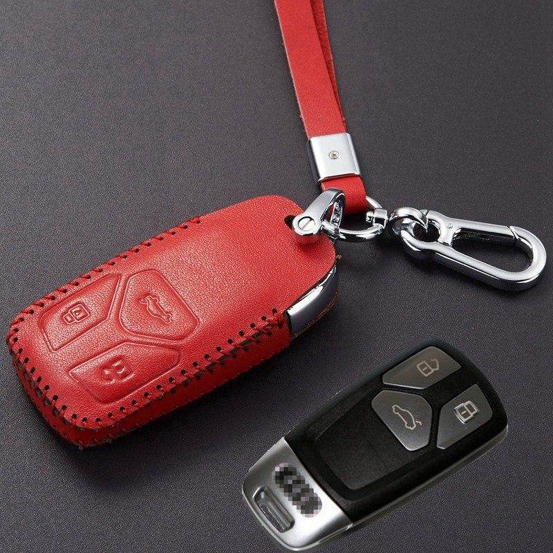 2018 2017 Leather Key Fob Cover Case With Key Chain For 2017 Audi Q7