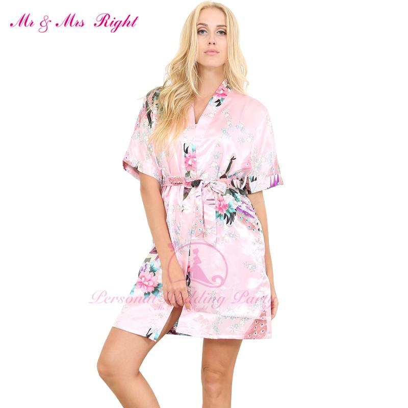 2019 Wholesale New Short Sexy Wedding Gown Womens Bathrobes Silk