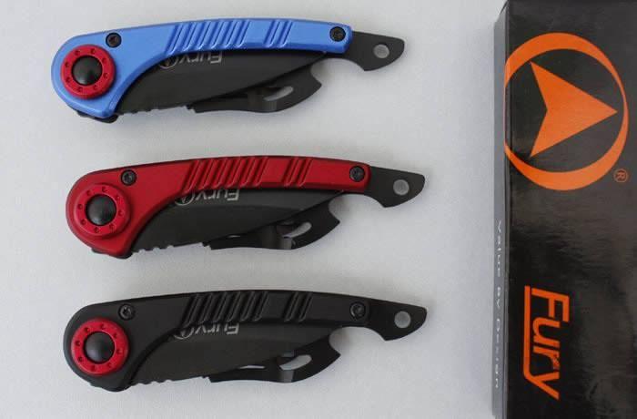 3 Renkler Fury 327 Küçük Cep Katlanır Bıçak 440C 56HRC Alüminyum Kolu Açık Yürüyüş Avcılık Survival İşlevli EDC Araçları Koleksiyonu