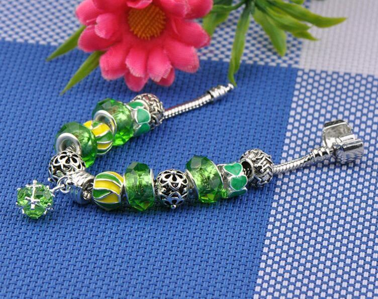 Europe Style Designer Jewelry DIY Hand Beads Snake Chain Good Luck Beaded Charm Bracelet Red Green Purple