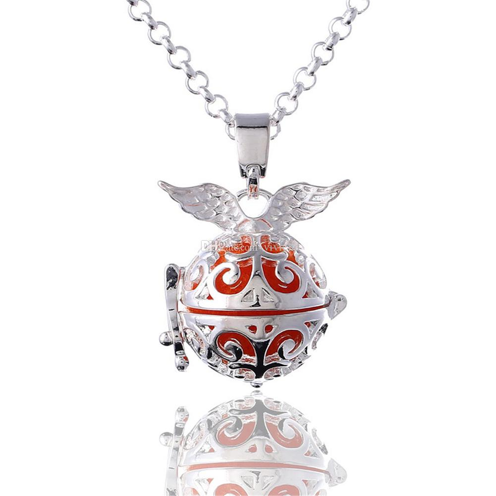 Aromatherapy Essential Oil Diffuser 2 Row Necklace Hollow Ball Angel Wing Love hand Locket Pendant with Lava Stone