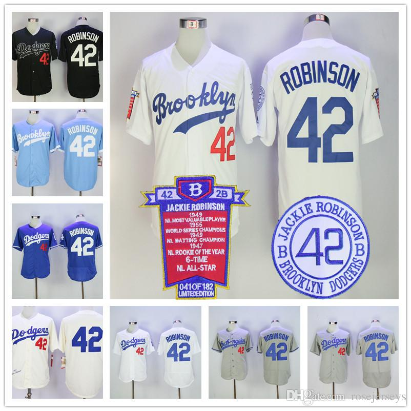 new product 543b0 90631 los angeles dodgers 42 jackie robinson navy blue cooperstown ...