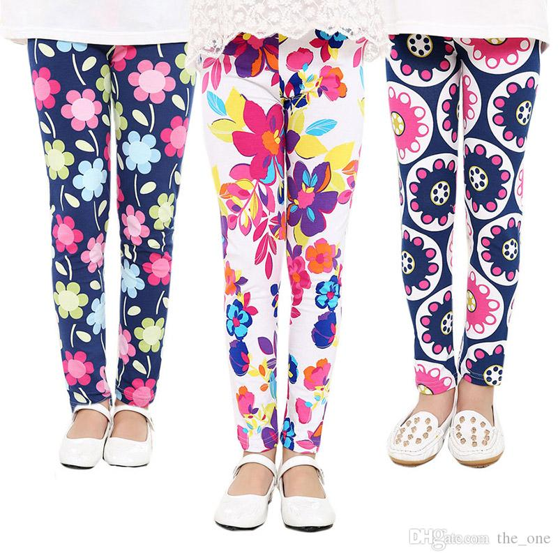 2017 Primavera Bebé Niños leggings Niños Calientes niñas Flor Impreso Toddler bebé floral Leggins pantalones Chicas legging niña leggings