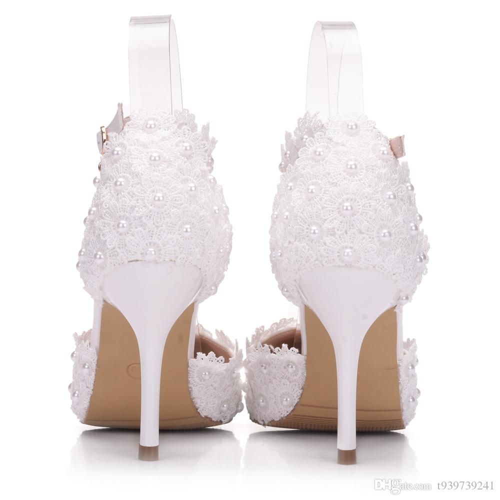 Crystal Queen White Lace Wedding Shoes Handcraft Applique Women Bridal Pumps Evening Party Platforms Heels Sandals Prom Shoes