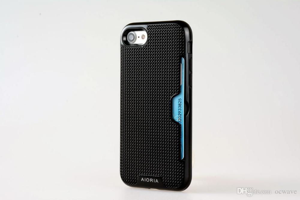 classique remise spéciale de où acheter Cas antichoc pour iPhone 7 conception de fente de carte de crédit Textile  Style PC avec Flexible TPU épais Couvertures