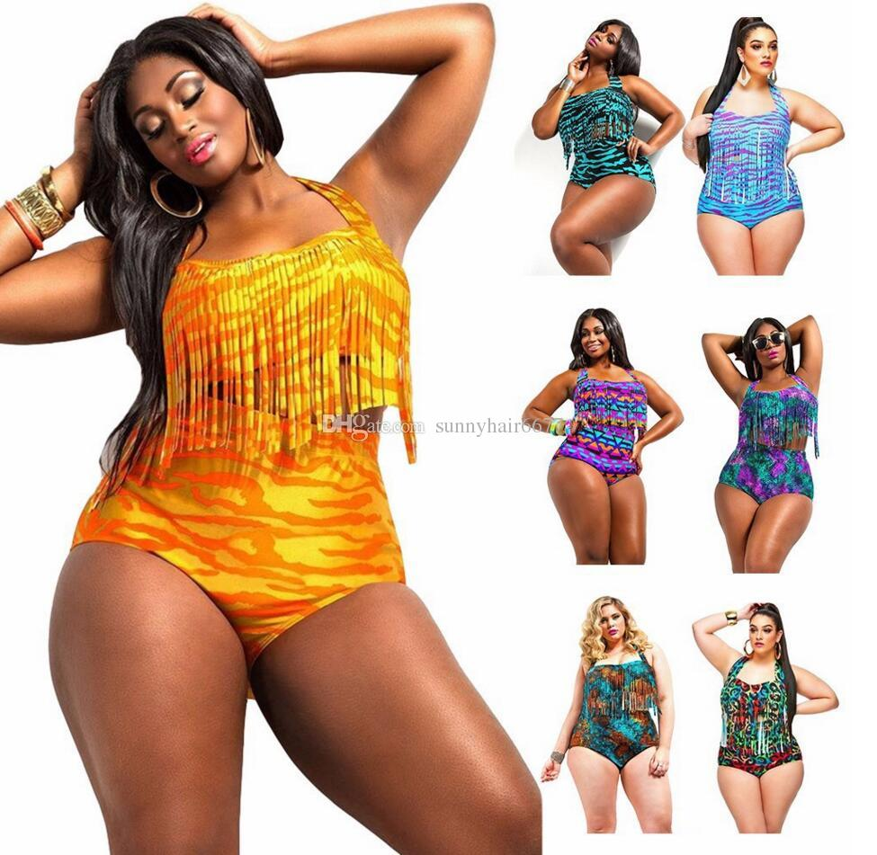 b4b77955add 2019 Mis June Plus Size Print Fringe High Waist Swimsuit Tassels Bathing  Suit Swimwear Push Up Bikini For Women 826 From Sunnyhair6677