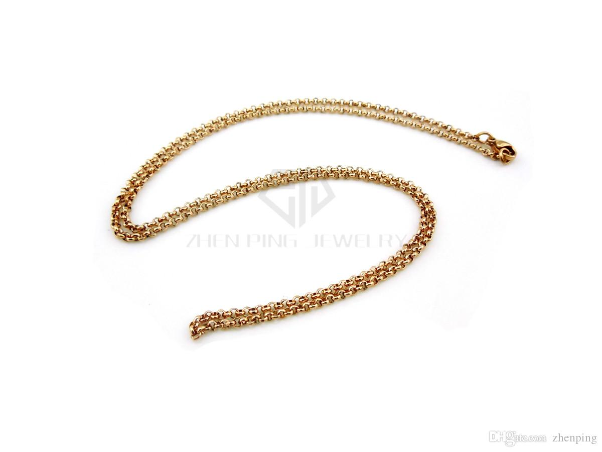 silver 2.0mm 55cm 22'' rolo chain stainless steel chain with toggle and lobster clasp